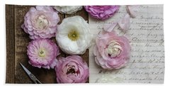 Hand Towel featuring the photograph Dreamy Ranunculus  by Kim Hojnacki