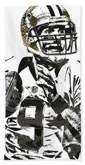 Drew Brees New Orleans Saints Pixel Art 1 Bath Towel by Joe Hamilton