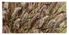 Dried Grasses In Burgundy And Toasted Wheat Bath Towel