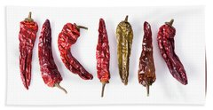 Dried Peppers Lined Up Bath Towel