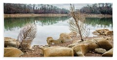 Dried Shrubs At Cherokee Reservoir Hand Towel