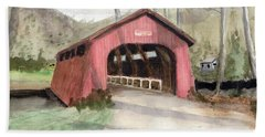 Drift Creek Covered Bridge Watercolor Bath Towel