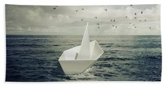 Bath Towel featuring the photograph Drifting Paper Boat by Carlos Caetano