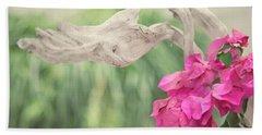 Driftwood And Pink Petals Bath Towel