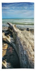 Bath Towel featuring the photograph Driftwood On Beach - Grant Park - Lake Michigan Shoreline by Jennifer Rondinelli Reilly - Fine Art Photography