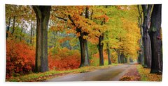 Driving On The Autumn Roads Hand Towel