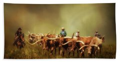 Driving The Herd Bath Towel by Priscilla Burgers