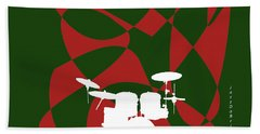 Drums In Green Strife Hand Towel