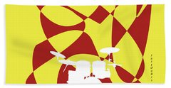 Drums In Yellow Strife Hand Towel by David Bridburg