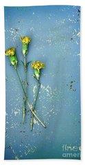 Dry Flowers On Blue Bath Towel by Jill Battaglia