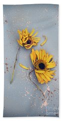 Dry Sunflowers On Blue Bath Towel by Jill Battaglia