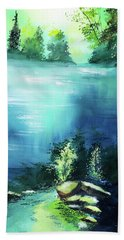 Bath Towel featuring the painting Duality by Anil Nene