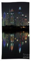 Dubai City Skyline Nighttime  Hand Towel