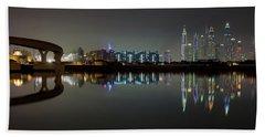 Dubai City Skyline Night Time Reflection Hand Towel