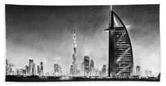 Dubai Cityscape Drawing Bath Towel