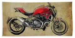 Ducati Monster 1200, 2014, Red Motorcycle, Gift For Husband, Gift For Bikers Hand Towel