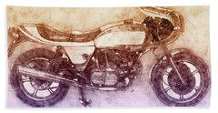 Ducati Supersport 2 - Sports Bike - 1975 - Motorcycle Poster - Automotive Art Bath Towel