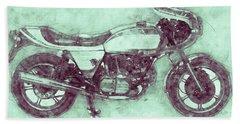 Ducati Supersport 3 - Sports Bike - 1975 - Motorcycle Poster - Automotive Art Bath Towel