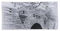 Duck Brook Bridge In Black And White Bath Towel