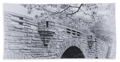 Duck Brook Bridge In Black And White Bath Towel