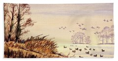 Hand Towel featuring the painting Duck Hunting Times by Bill Holkham