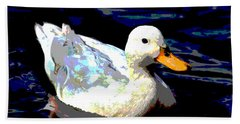 Bath Towel featuring the mixed media Duck In Water by Charles Shoup