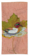 Duck On Pond Hand Towel by Ralph Root