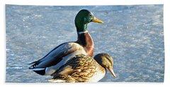 Duck Pair On Frozen Lake Hand Towel