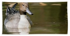 Duck Swimming, Front Portrait. Bath Towel
