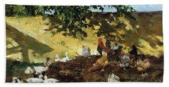 Ducks And Chickens In A Farmyard Bath Towel