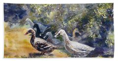 Hand Towel featuring the painting Duck's Day Out by Ryn Shell