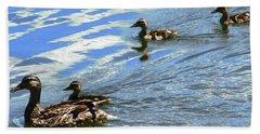 Ducks Hand Towel by Stephanie Moore