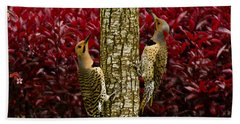 Dueling Woodpeckers Hand Towel