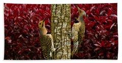 Dueling Woodpeckers Bath Towel