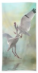 Duelling White Ibises Hand Towel