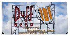 Hand Towel featuring the photograph Duff Beer Sign by Wade Brooks
