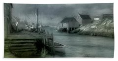 Dull Fall Day In Peggys Cove Bath Towel