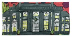 Hand Towel featuring the painting Dupont Family Mansion. by Jonathon Hansen