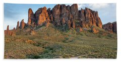 Dusk At Lost Dutchman Bath Towel by Greg Nyquist