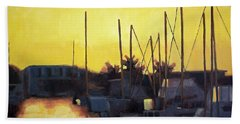 Dusk At The Marina Hand Towel