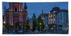 Hand Towel featuring the photograph Dusk At The Triple Bridge - Slovenia by Stuart Litoff