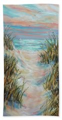 Bath Towel featuring the painting Dusk Pathway by Linda Olsen