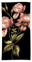 Dusky Peach Roses On Black Bath Towel