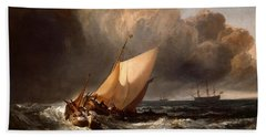 Dutch Boats In A Gale Hand Towel