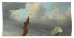 Dutch Ship And Other Small Vessels In A Strong Breeze Bath Towel