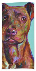 Bath Towel featuring the painting Dutch, The Brindle Mix by Robert Phelps