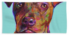 Hand Towel featuring the painting Dutch, The Pit Bull Pup by Robert Phelps