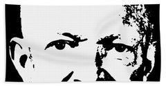 Dwight D. Eisenhower White On Black Pop Art Bath Towel
