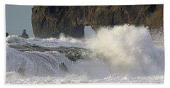 Dyrholaey Arch From Reynisfjara Beach 6858 Bath Towel