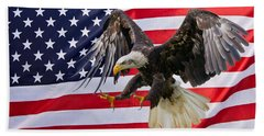 Eagle And Flag Hand Towel by Scott Carruthers